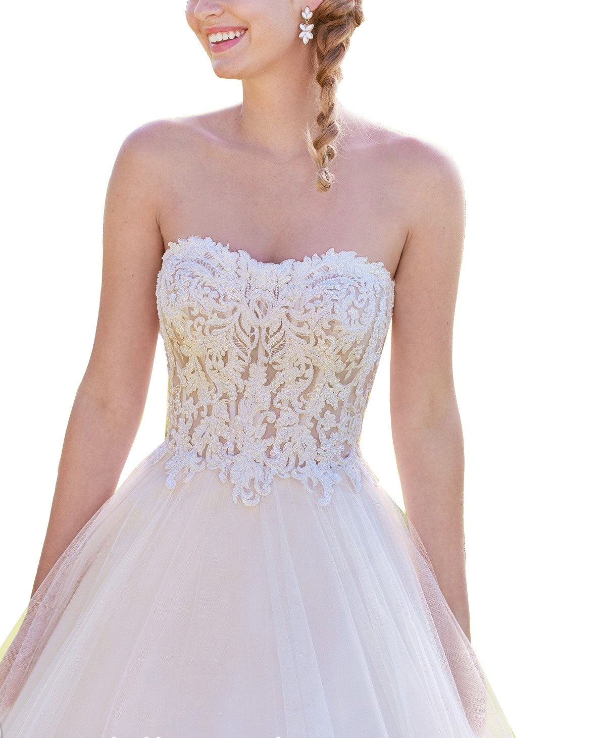 Lava-ring Women's Sweetheart Lace Embroidery Backless Princess Dress Wedding Ball Gown