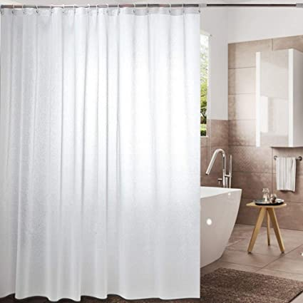 Polyester Fabric White Waterproof Thick Curtain Shower Bathroom The Windows Lack Of Door