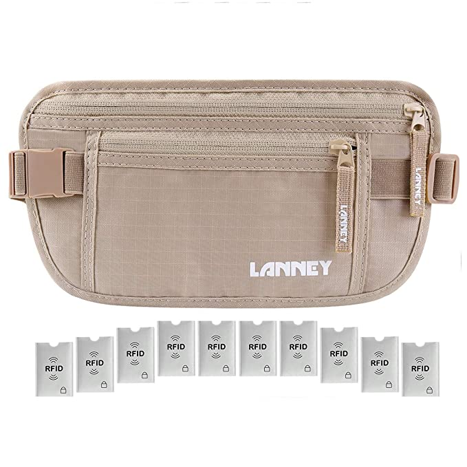 Travel Money Belt for Men Women, RFID Blocking Concealed Waist Wallet Pouch Under Clothes Passport Holder Antitheft Waist Stash Bag for Travelling, Bonus 10 RFID Credit Card Sleeves, Beige best travel belts