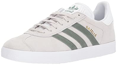 adidas Originals Women\u0027s Gazelle W Sneaker, Pearl Grey/Trace Green/White, 6