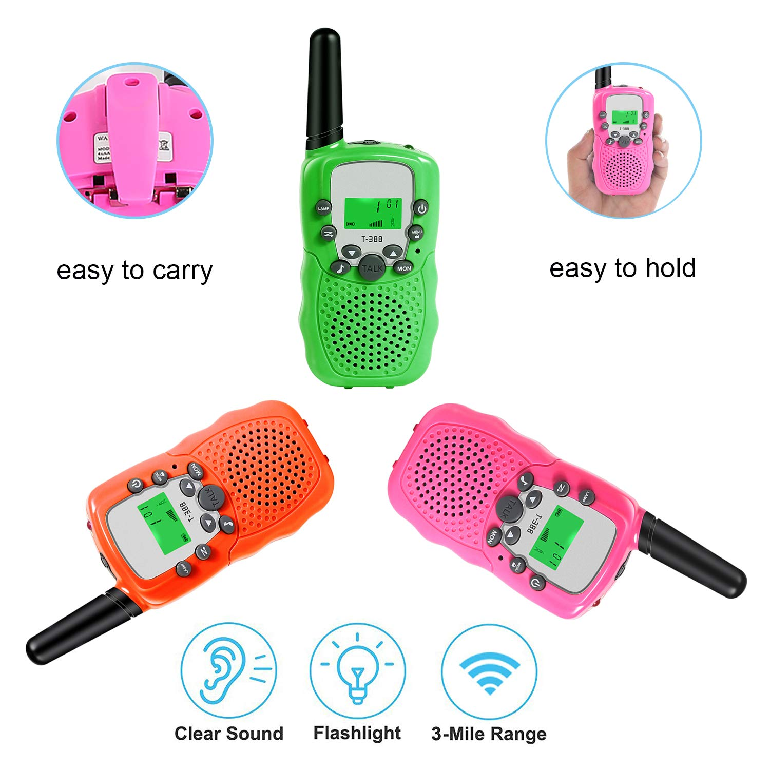 MOSUNECE Walkie Talkies for Kids Walkie Talkies 3 Miles Long Range 22 Channels 2 Way Radio Gifts for Kids Boys Girls T-388(3 Pack) by MOSUNECE (Image #5)