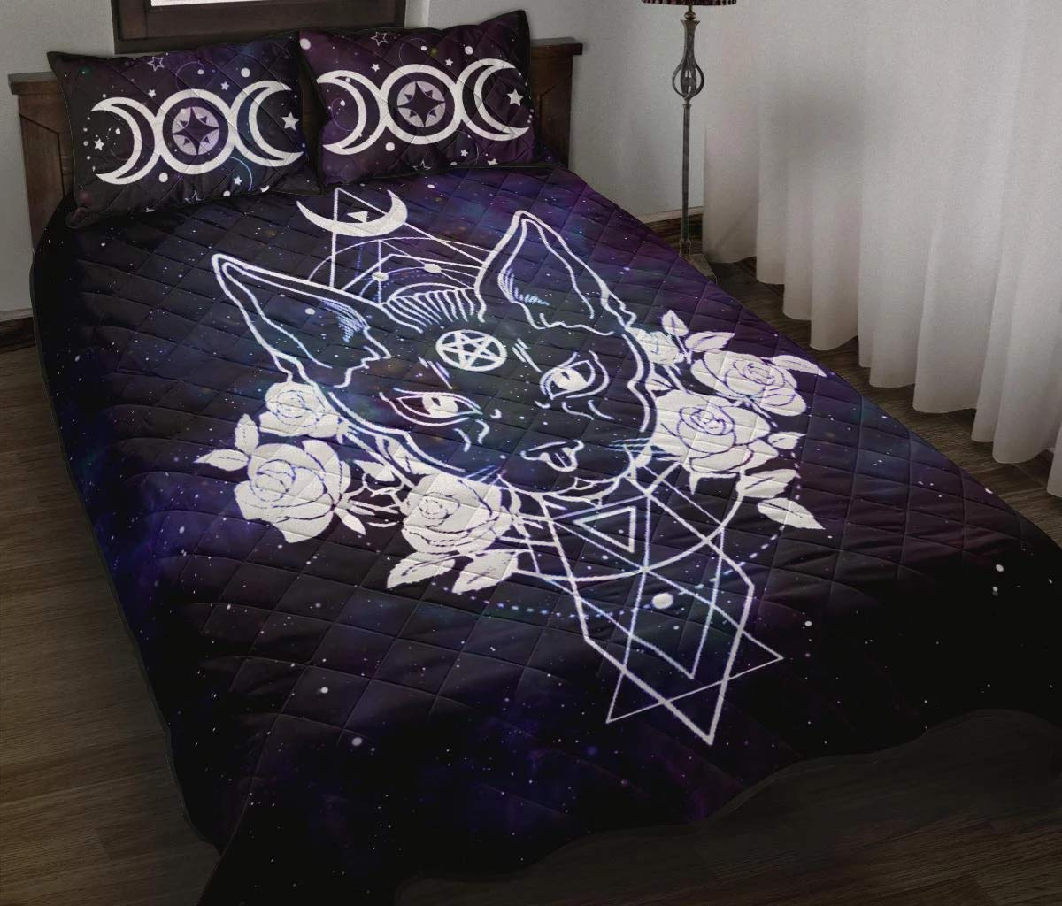 MoonChildWorld Triple Moon Accent Witchy Cat Wicca Pagan Quilt Bed Set