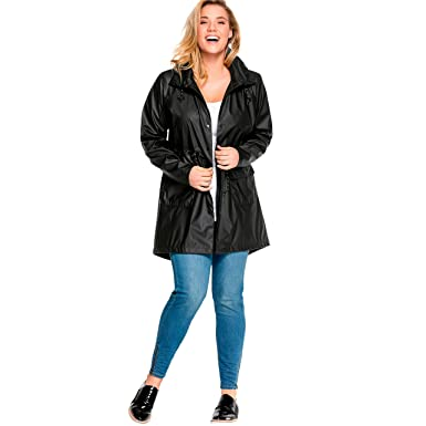 244b72009a2 Amazon.com  Ellos Women s Plus Size Hooded Anorak Raincoat  Clothing