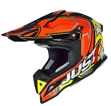 Just 1 Helmets J12 Aster Casco de Motocross, Naranja/Amarillo, XS