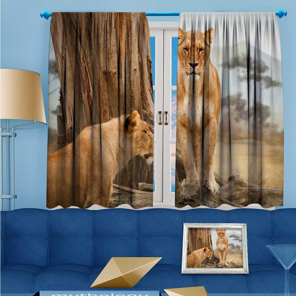 SCOCICI1588 Room Darkening Rod Pocket Window Curtains, African carnivorous animal, Set of Two Panels, W52'' x L84'' Pair