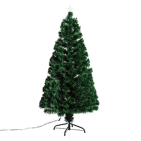 80ff0cfefda53 HOMCOM Árbol de Navidad 150cm Artificial Árboles de Abeto con Soporte Fibra  Óptica Brillante LED Ignífugo