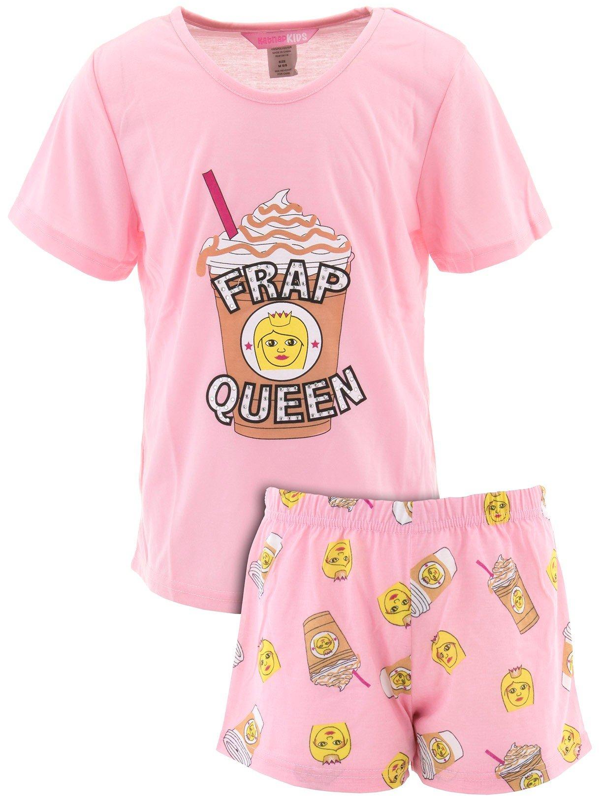 Katnap Kids Little Girls' Frap Queen Pink Short Pajamas M/6-8