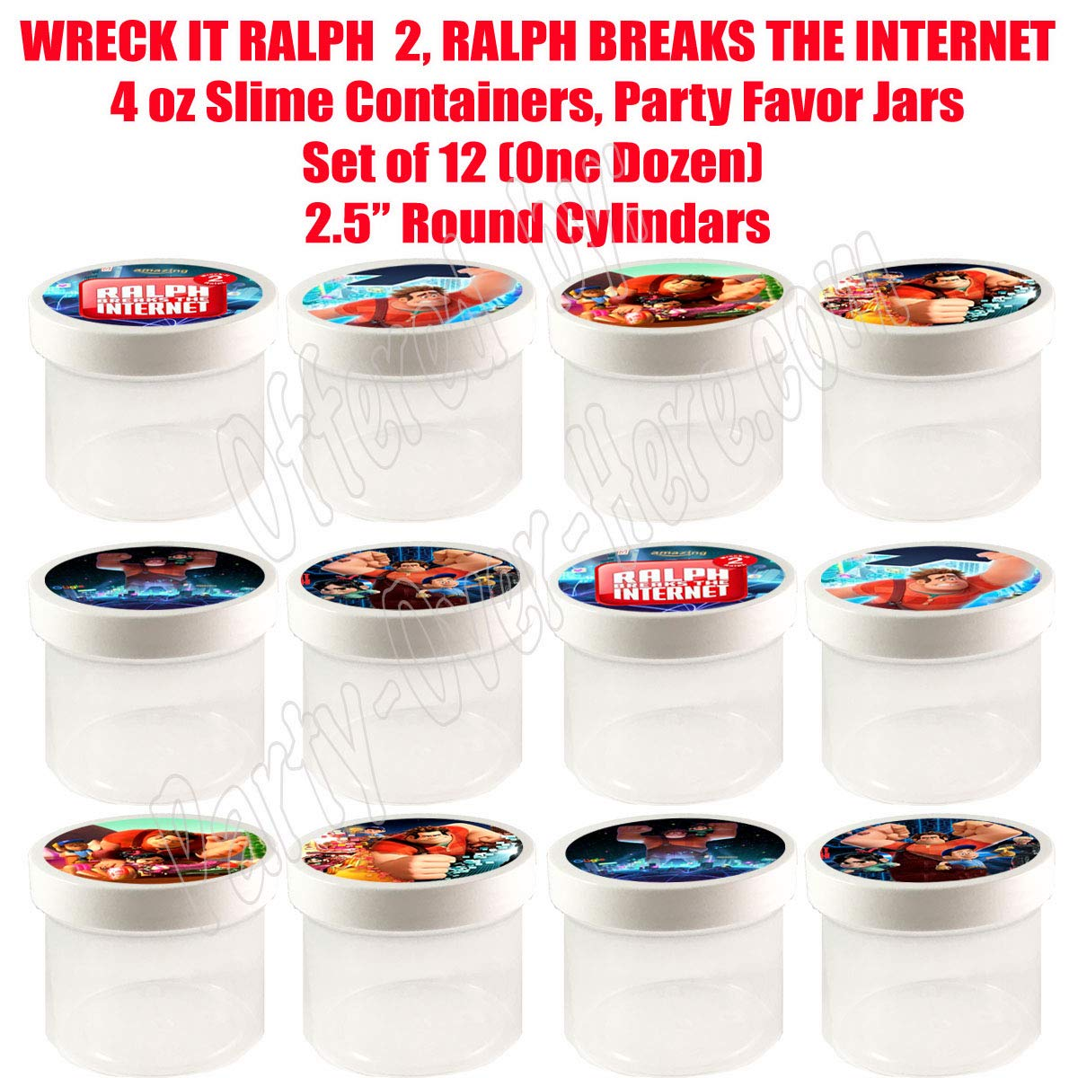 """2.5/"""" Round Cylinder -12 pcs Wreck It Ralph 2 Movie 4 oz Slime Containers Cereal Durable Plastic gumballs Party Favor Jars Ralph Breaks The Internet Put Any Candy"""