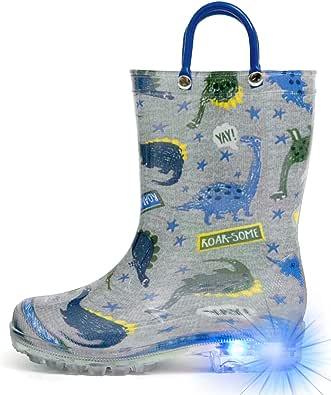 HugRain Light Up Rain Boots for Little Kids