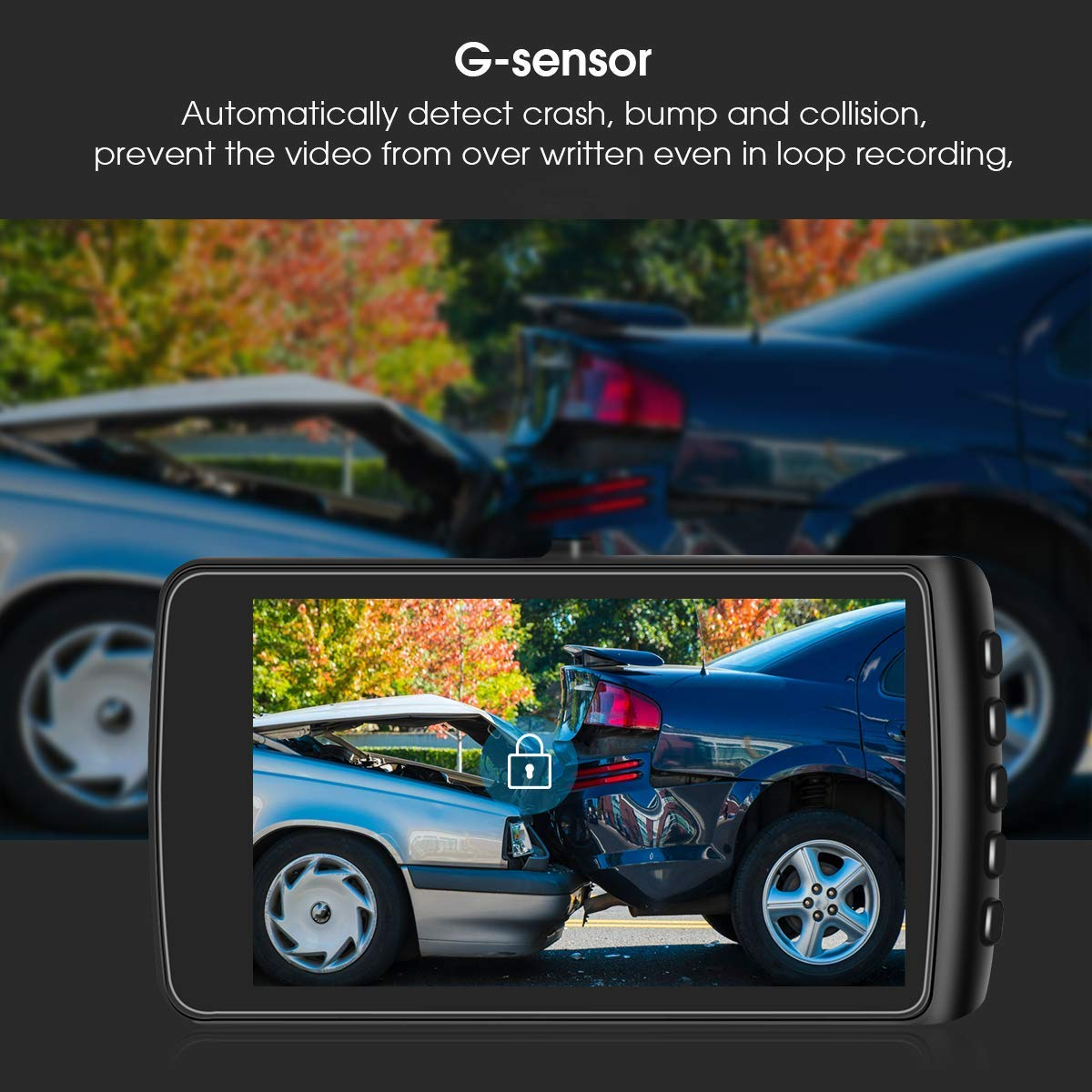 Parking Monitoring,Motion Detection Dash Cam 1080P HD,YonRui Front and Rear Driving Video Recorder with 4 Inch LCD LED Compensation YonRui Dash Cam G-Sensor Dashboard Camera