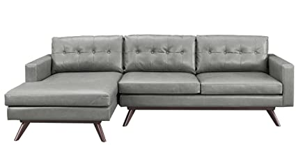 TOV Furniture The Blake Collection Antique Eco Leather Upholstered  Sectional Furniture Sofa Couch With Left