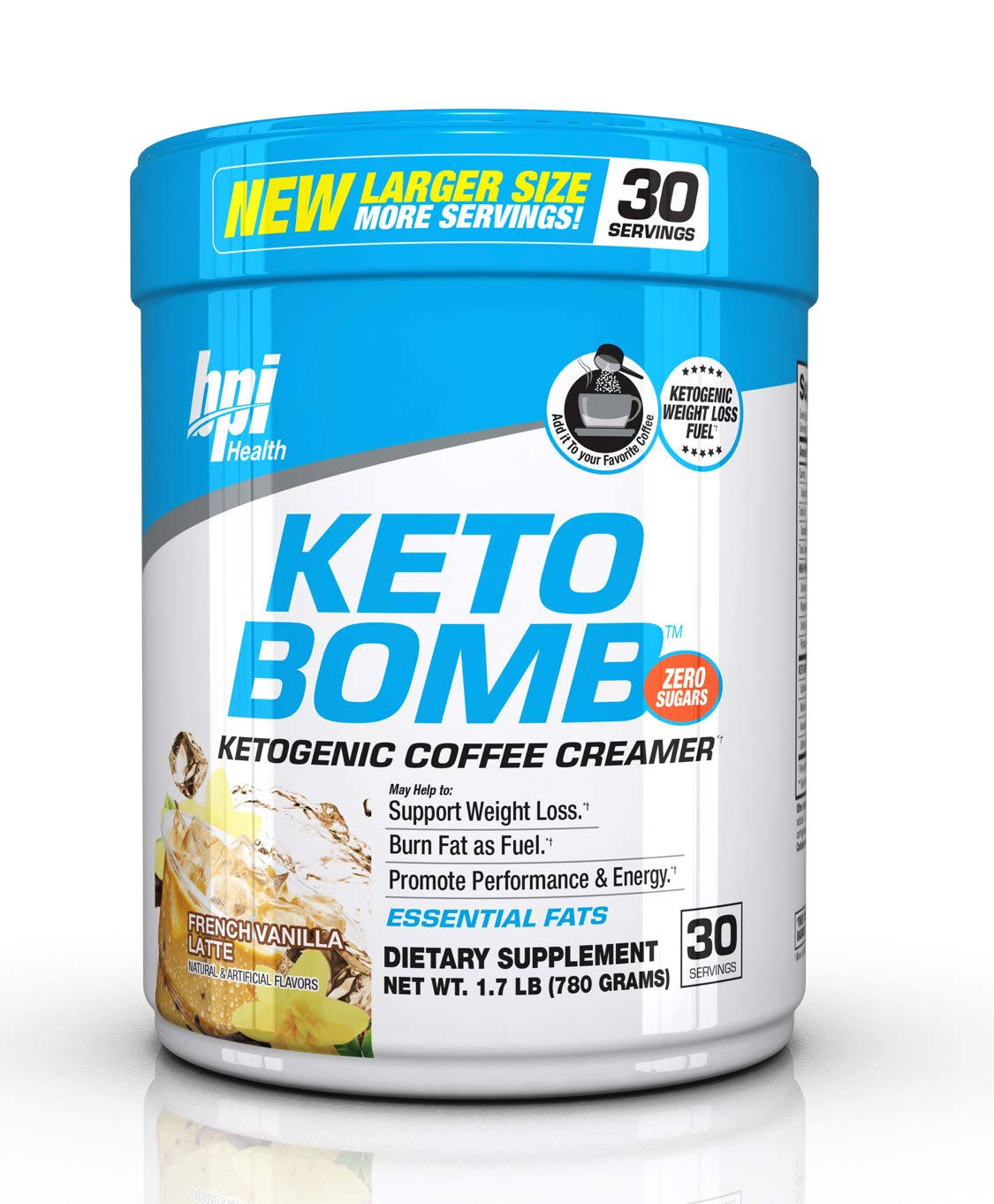 Bpi Health Keto Bomb - Ketogenic Coffee Creamer - Amazing Taste - Supports Weight Loss - Essential Fats - Boosts Energy - 0 Sugar - French Vanilla Latte - 30 Servings - Larger Size - Huge Savings