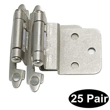 Probrico 25 Pairs Brushed Satin Nickel 3 8 Overlay Decorative Self Closing Face Mount Kitchen Cabinet Hinges