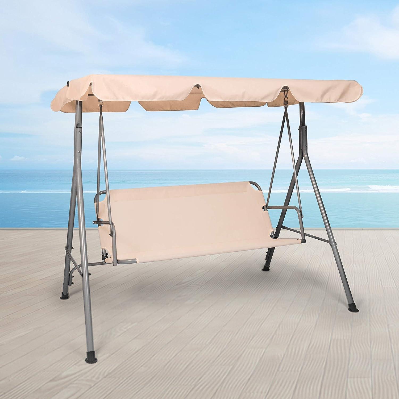 Koreyosh 3 Person Outdoor Swing Chair Adjustable Canopy Hammock Seats Patio Porch Garden Swing Beige Kitchen Dining