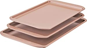 Farberware 120 Limited Edition Bakeware Nonstick Cookie Set/Baking Sheets/Pans, 3 Piece, Rose Gold