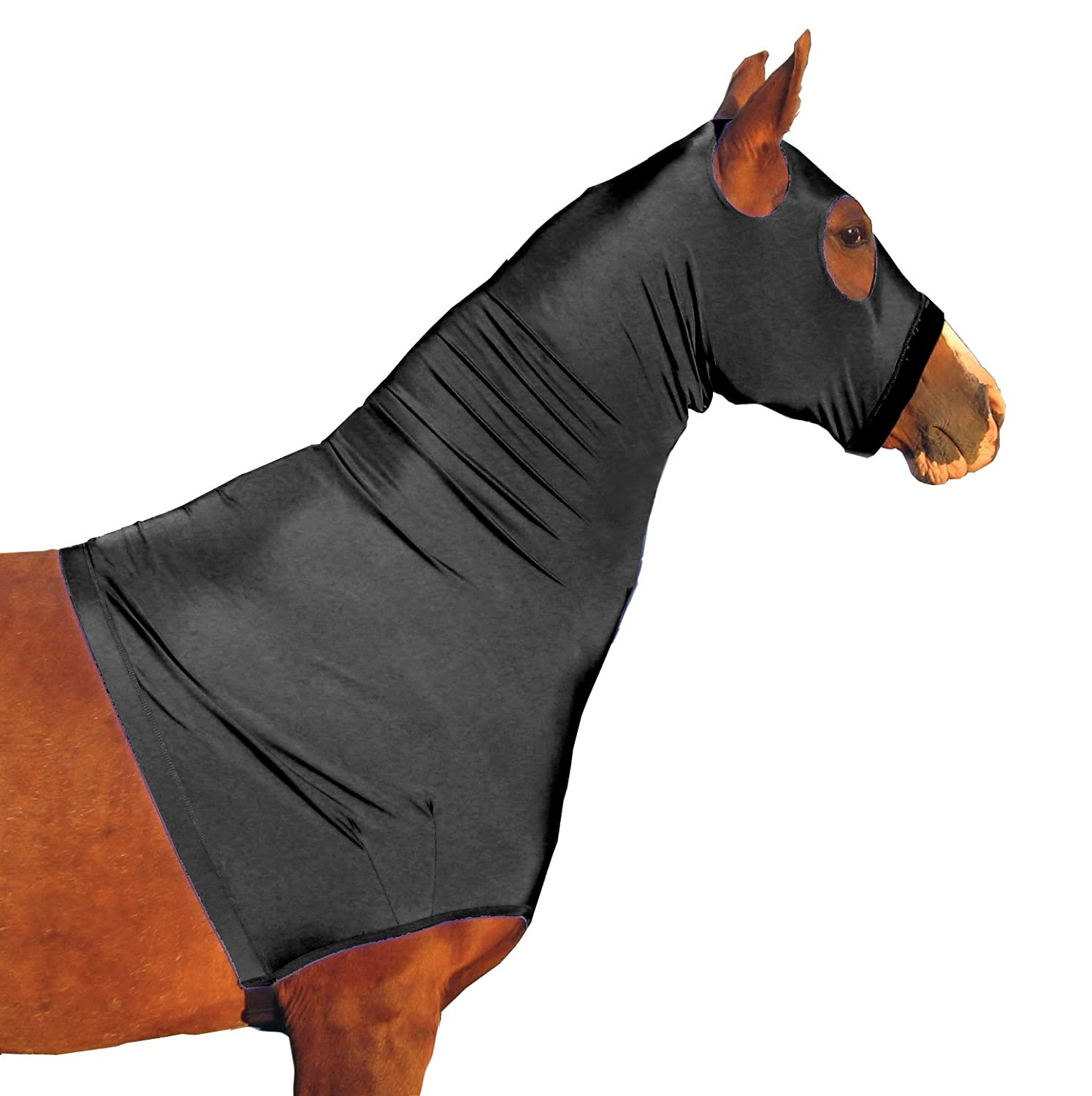 Black Large Black Large Derby Originals Lycra Stretch Horse Hoods with Zipper Multiple colors and Sizes