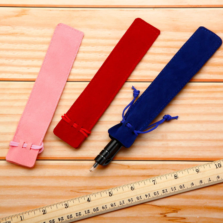 Velvet Pen Pouch Black Blue Red Pink Brown Pen Pouches Pocket Drawstring