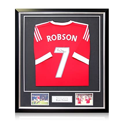 150876bad Image Unavailable. Image not available for. Color  Bryan Robson Signed  2015-16 Manchester United Home Soccer Jersey ...
