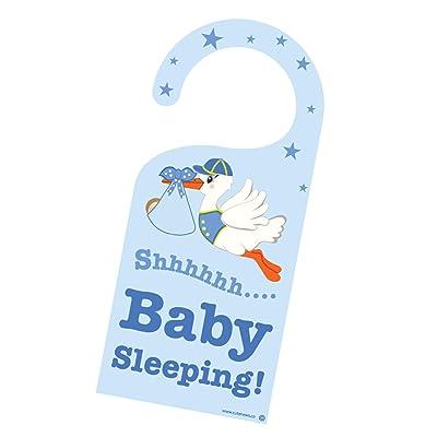 Cute News Baby Sleeping Stork Door Hanger - Do not Knock/Disturb Newborn Sign: Baby
