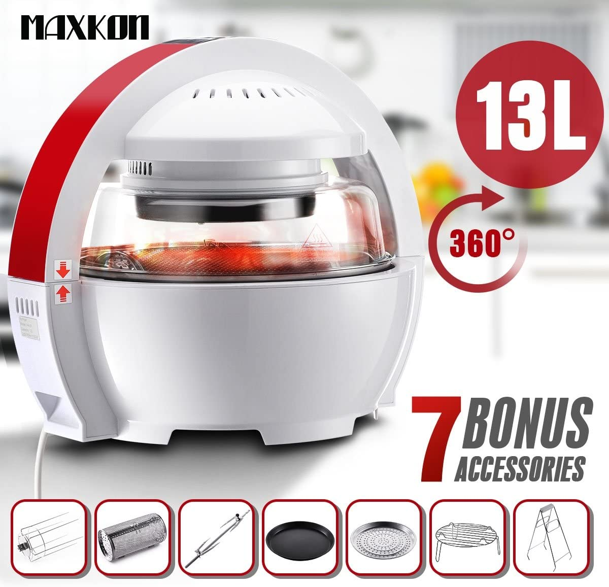 Maxkon UFO Designed Multi-Purpose Healthy Air Fryer Oven Cooker