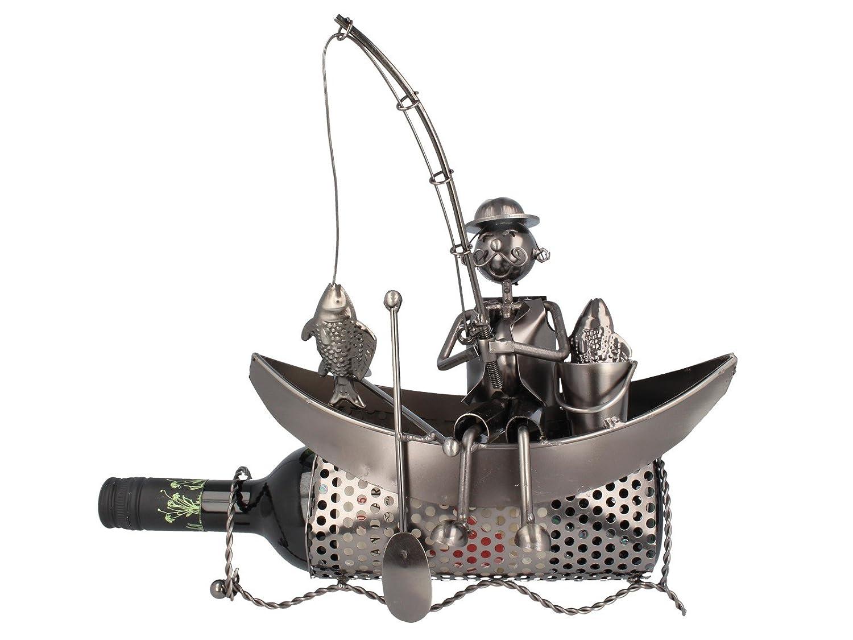 Weinflaschenhalter Angler im Boot Herrengeschenk 28x15x28cm Metall m. Angel Michel Toys