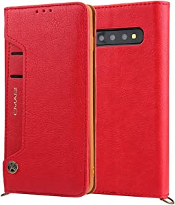 GUOQING Phone Case Case for iPhone Samsung Galaxy S10 Plus Wallet Case,Premium PU Leather Credit Card Holder and Money Slot Case with Kickstand Flip Cover (TPU Inner Protective Cover) (Color : Red)