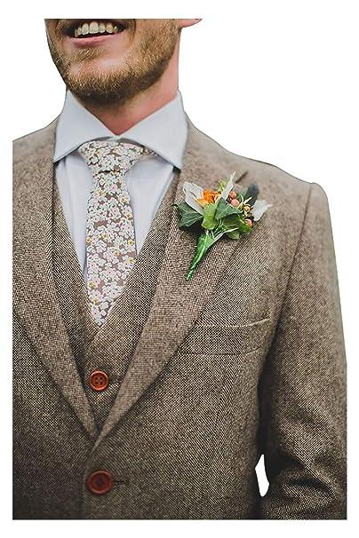 Amazon.com: Prémium Grooms Tan Tweed - Traje de lana de ...