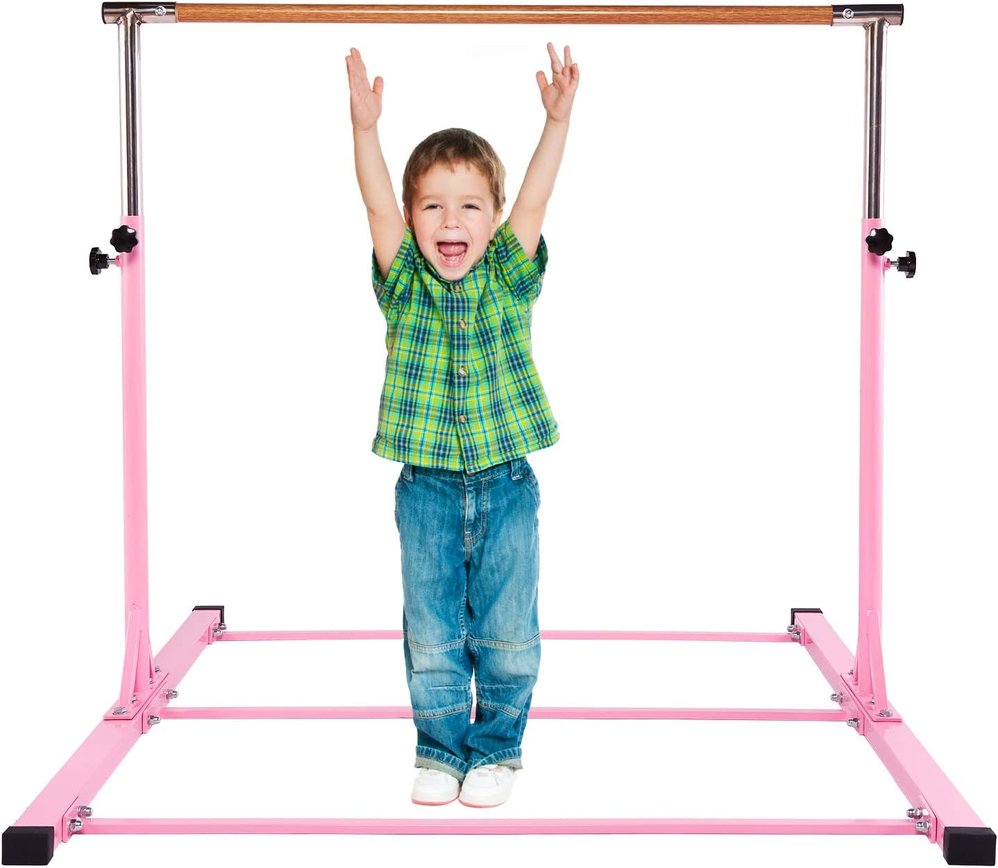 DONGFANG Gymnastics Bar for Kids,Junior Training Horizontal Bar Height Adjustable,Kip Bar Ideal for Gymnasts/Home/Floor/Practice/Tumbling(Pink/Blue)