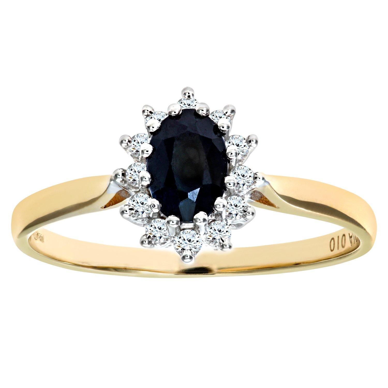 Naava Round Brilliant 0.25ct Sapphire and Diamond 9ct Gold Oval Cluster Ring k7xsqul4F