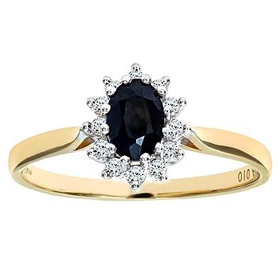 288d48c72414 Naava Anillo de Mujer con Oro de 9 quilates (375) con Zafiro y Diamantes   Amazon.es  Joyería