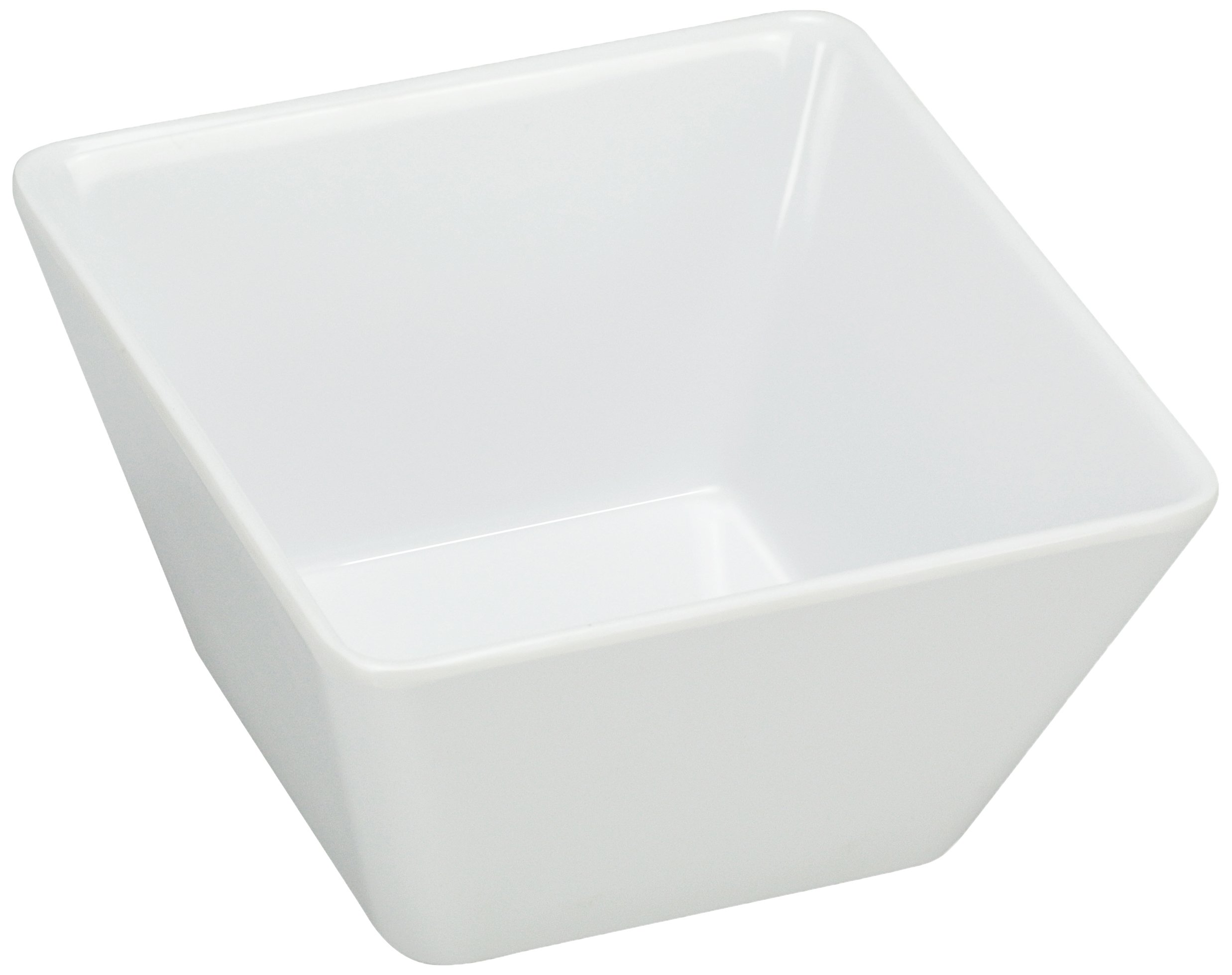 Yanco RM-404 Rome Square Bowl, 10 oz Capacity, 3.75'' Length, 3.75'' Width, 2.5'' Height, Melamine, White Color, Pack of 72