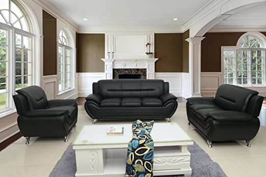 Container Furniture Direct Michael 3-Piece Living Room Set, Black