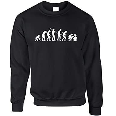 bf7c3614 Tim And Ted Evolution of a Geek IT Computer Nerd Printed Design Sci Fi  Nerdy Geeky Idea Novelty ICT Art Logo Jumper Sweater Sweatshirt Cool Funny  Gift ...