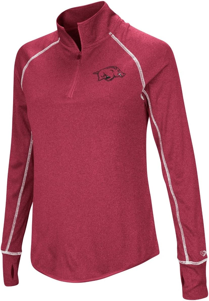 Colosseum Arkansas Razorbacks Womens NCAA Superstar 1//4 Zip Long Sleeve Wind Shirt