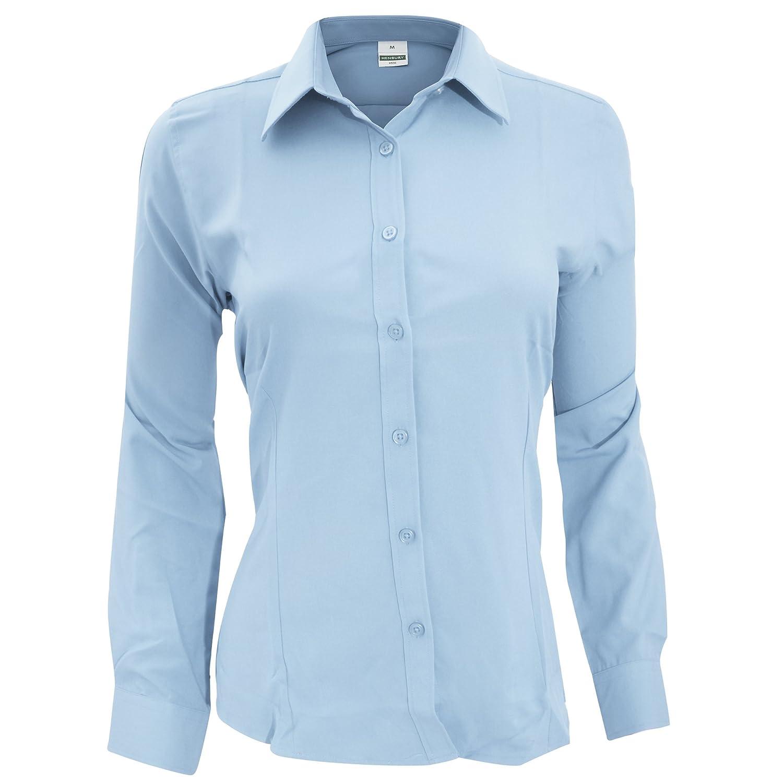 Women's Henbury Long Sleeve Anti-Bacterial Formal Button Work Shirt