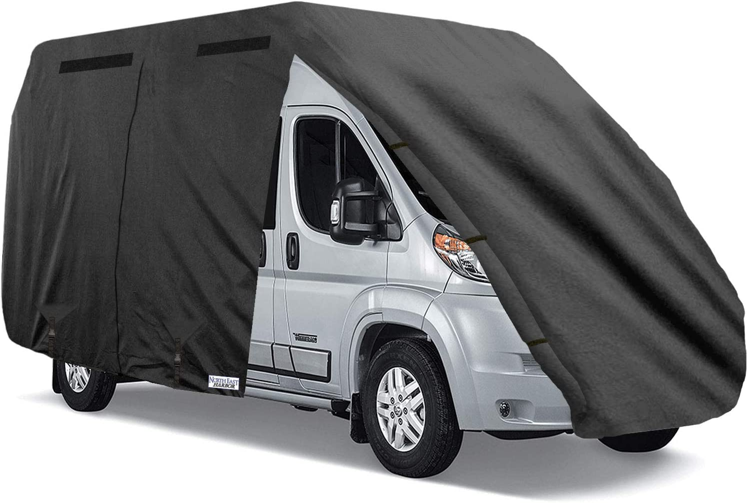 North East Harbor Waterproof Durable Class-B RV Motorhome Cover Fits Length 18'-20' Class B Camper Van/Conversion Vans Zippered Panels 300D Polyester Fabric - 20ft L x 7ft W x 8ft H, Gray (ZCB710)