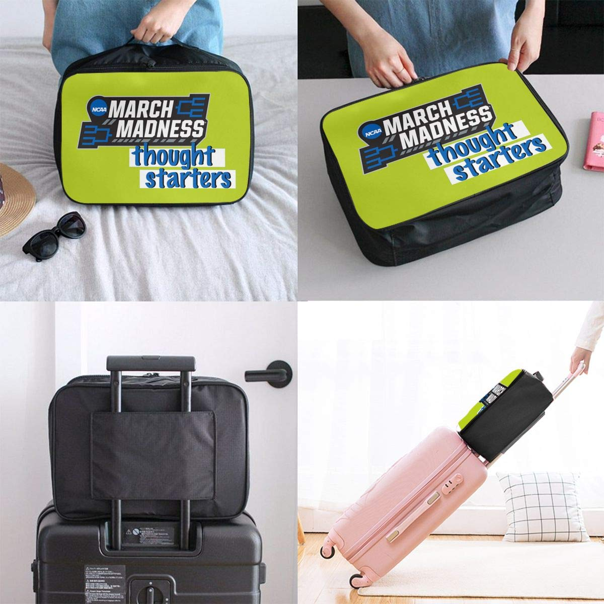 Travel Duffel Bag Waterproof Lightweight Large Capacity Duffel Tote Bag March Madness Blog Portable Handbag For Travel Camping Sport White