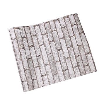 3D Grauer Ziegel Tapeten Selbstklebend Tapete Steinoptik, Selbstklebend  Einlese Strukturiert PVC Brick Wall Paper Peel