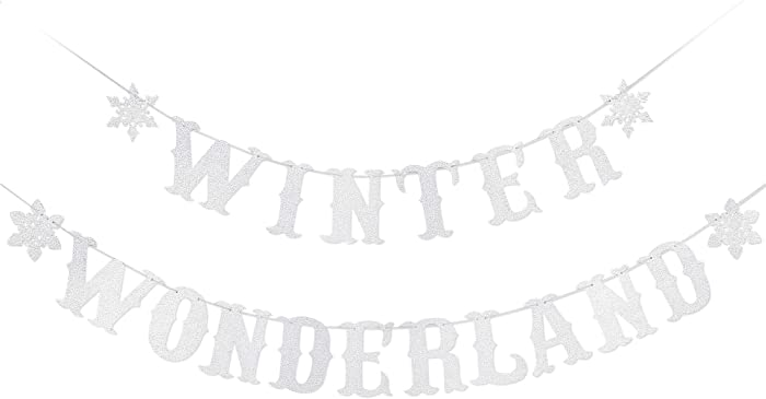 Silver Glittery Winter Wonderland Banner- Christmas Holiday Party Decorations,Winter Wonderland Decor,Winter Wonderland Baby Shower Birthday Decorations,Snowflake Party Decorations