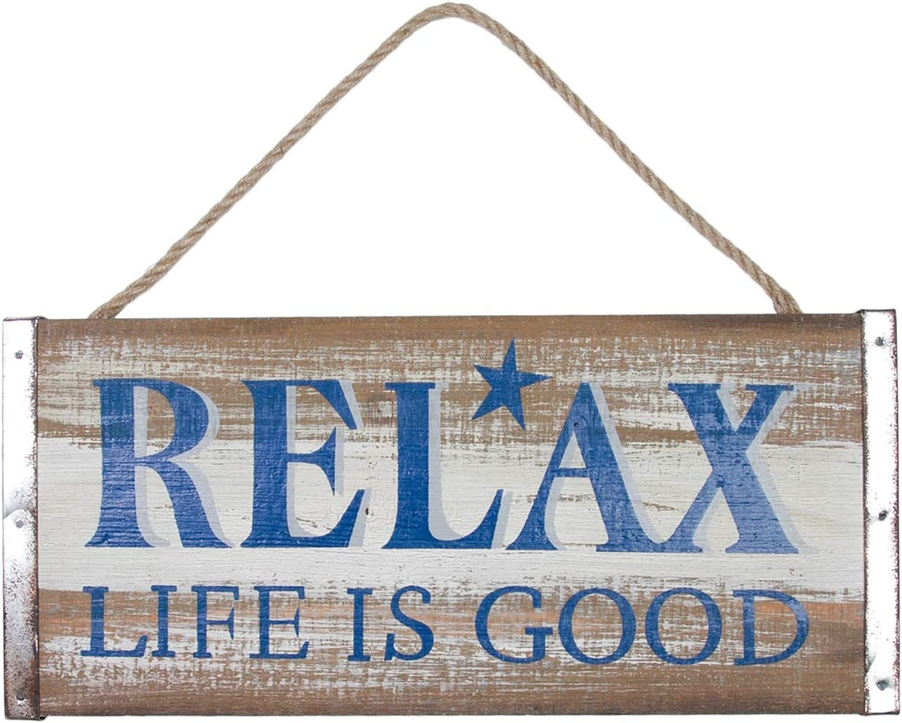 Beachcombers Relax Life is Good Coastal Plaque Sign Wall Hanging Decor Decoration for The Beach Blue
