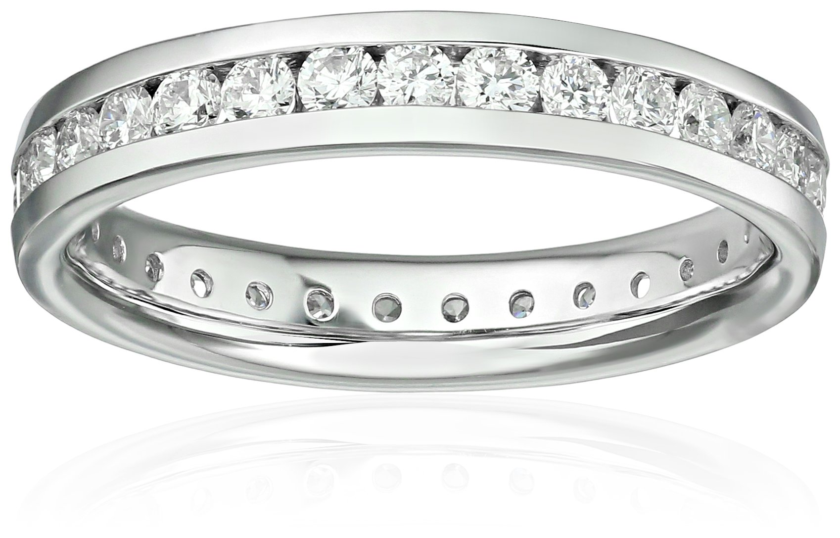 14k White Gold Diamond Channel Eternity Ring (1cttw, H-I Color, I1-I2 Clarity), Size 7