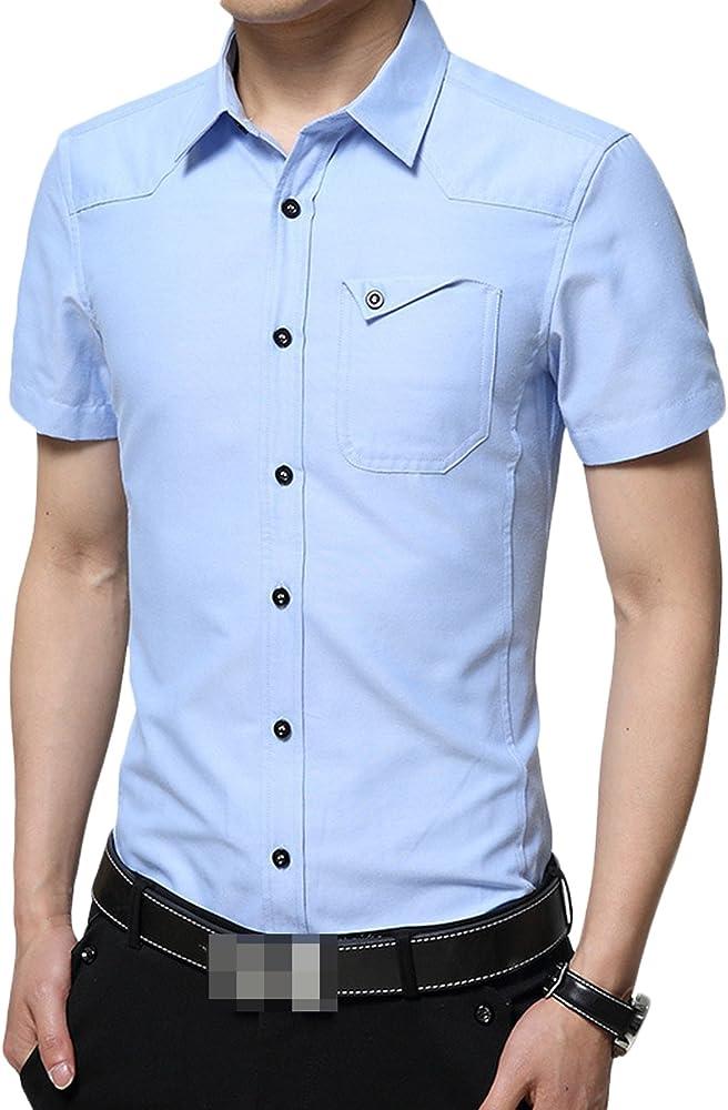 LEOCLOTHO Camisa de Hombres Manga Corta Algodón Transpirable Casual Formal Negocio Shirt Tops Azul Claro XS: Amazon.es: Ropa y accesorios