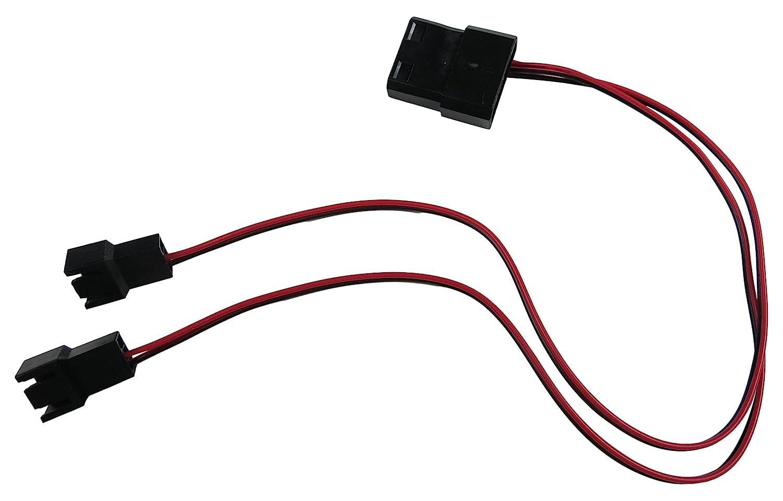 Extrememod 4 Pin Molex To 2 X 3 Male Computer Case Fan