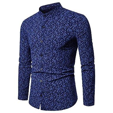 finest selection 2eef1 934dd FRAUIT Hemd Herren Männer Print Muster Hemden Freizeit Business Party  Langarm Shirt Top Bluse Slim Fit Bügelleicht,Herbst Modern Super Qualität  Auch ...