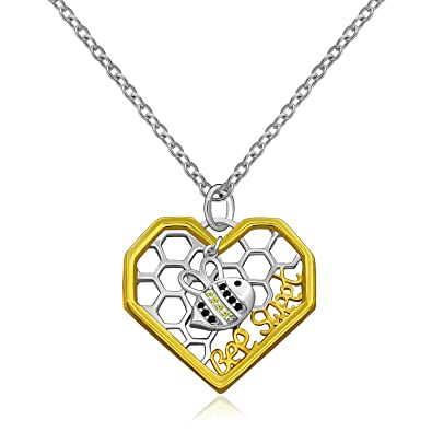 1e3ece01c0df MONBO Bee Necklace Honeybee Bumblebee Beehive Heart Pendant Necklace for  Women Girl Kid