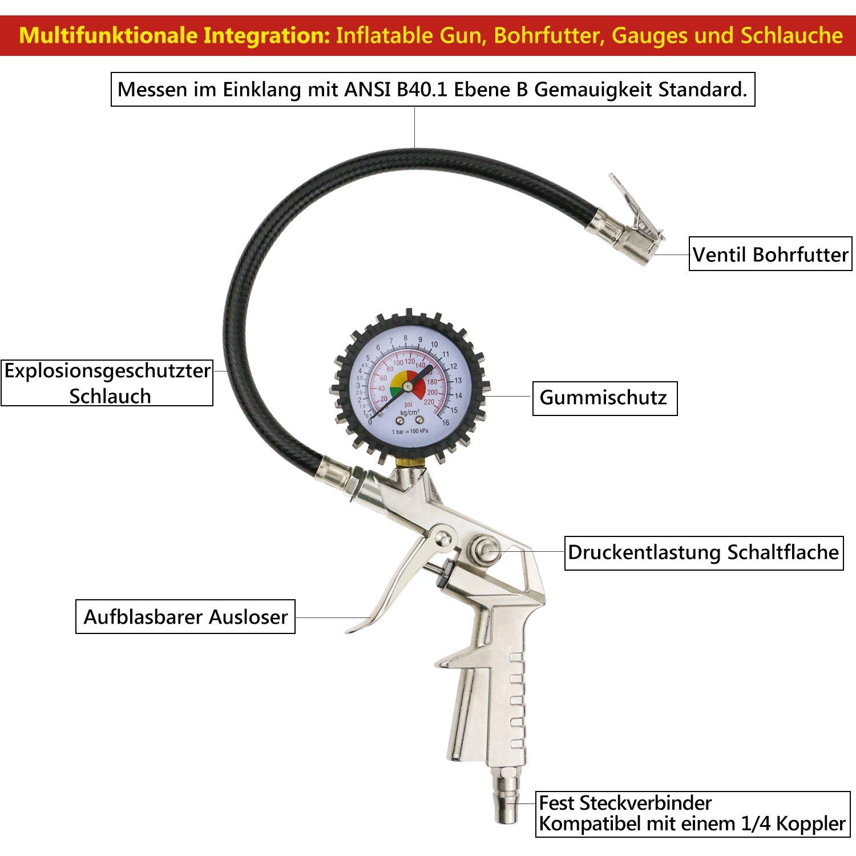 TedGem Manómetro de Presión para Neumáticos 220 PSI, Pistola de hinchado de ruedas con manómetro - Manómetro neumáticos Para el automóvil y la motocicleta: ...