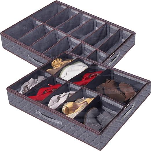 Gris 2 Paquete 24 Pares Lifewit Grandes Divisores Ajustables Debajo de la Cama Organizador de Zapatos Bolsa de Almacenamiento