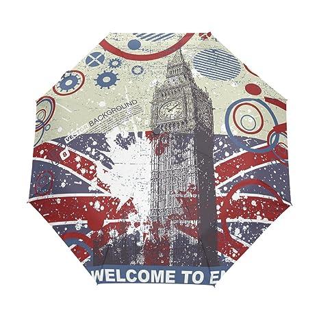 COOSUN Fondo del grunge con Big Ben 3 automático plegable del paraguas del parasol Color #
