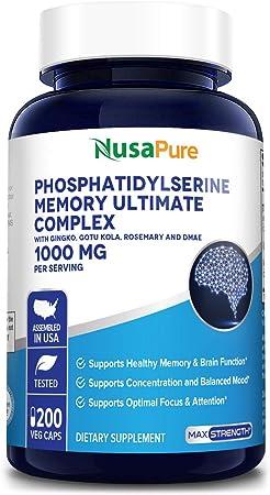 Phosphatidylserine Memory Ultimate Complex 1000mg Per Serving 200 Vegetarian Caps (Vegan, Non-GMO & Gluten-Free) Nootropic Brain Supplement - Supports Healthy Memory and Brain Function*
