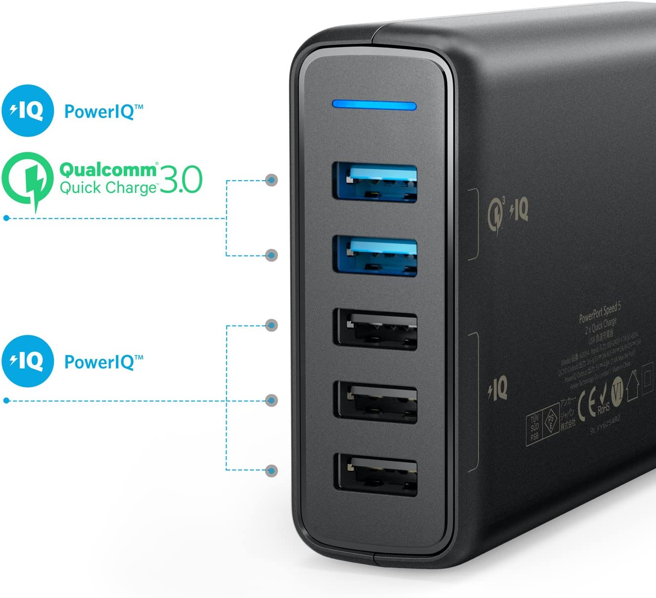 HTC and More Nexus Anker Quick Charge 3.0 63W 5-Port USB Wall Charger Note 8//7 and PowerIQ for iPhone XS//Max//XR//X//8//7//6s//Plus PowerPort Speed 5 for Galaxy S10//S9//S8//S7//S6//Edge//+ iPad LG